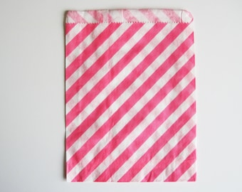 Party Favor Bags-Hot Pink Striped Snack Bags-Stripe Party Favor Sack -Wedding Gift Bag-Striped Birthday Treat Bag-Fuchsia Goodie Bag