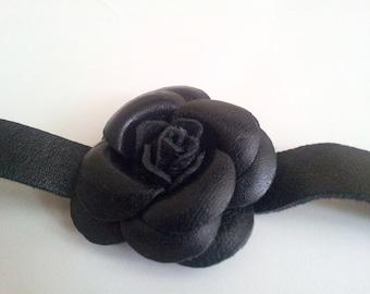 Black Rose Leather Bracelet