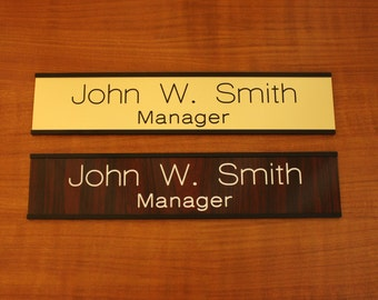 """CUSTOM ENGAVED 2"""" X 8"""" Door Wall Name Plate With Holder"""