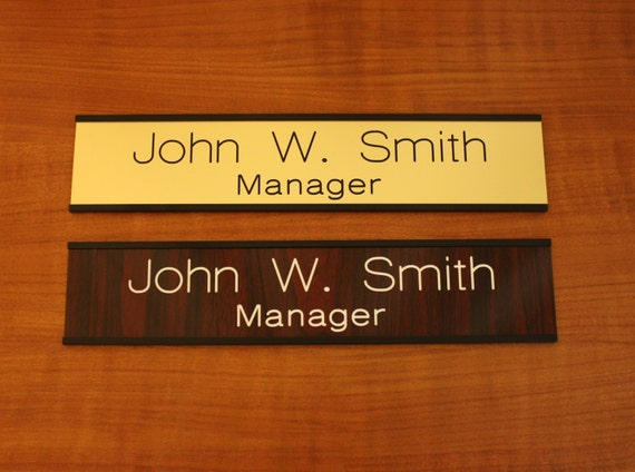Custom engaved 2 x 8 door wall name plate with for Door name plates