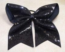 Black Sequin Cheer Bow, Big Cheer Bow, Custom Cheer Bow