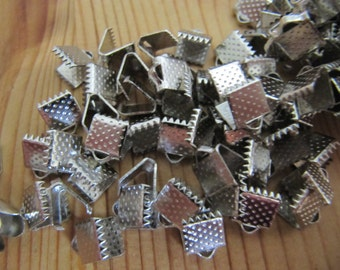 Silver Ribbon Crimp End 8mm x 6mm - Silver Crimp - Set of 25