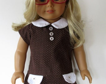 18 Inch School Girl Dress, Brown/White Dot Dress sized to fit 18 Inch dolls such as American Girl Dolls
