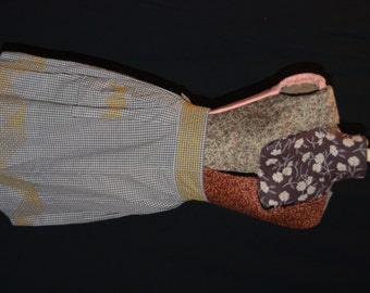 Womens Brown Gingham Apron with Yellow Stitching