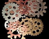 Special Order for Anhoki Only!! Extra Large Lot of 144 Mixed Metal Steampunk Gear Charms - 2 Sizes - 3 Colors - 3 Styles