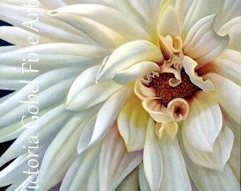 "White Dahlia Original Painting - Acrylic on Canvas - 30""x 30"" Giclee Print on Boxed Canvas"