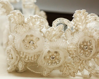 Bridal garter set - Vintage flower ( Made to Order)