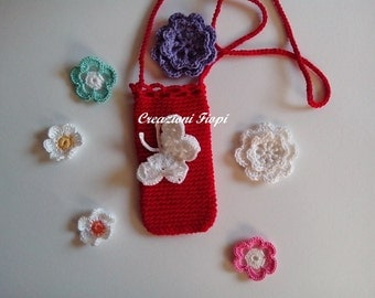 Crochet Pattern red necklace cell phone / Crochet Pattern case / Handmade / Pattern 118/  / Instant Download.Pdf