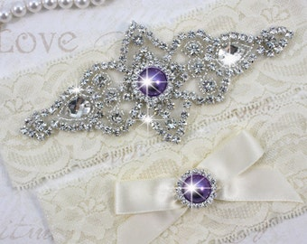 CHLOE II - Purple Pearls Wedding Garter Set, Wedding Stretch Lace Garter, Rhinestone Crystal Bridal Garters