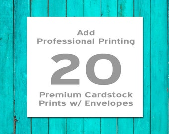 20 Professionally Printed Flat Cards Premium Cardstock with White Envelopes