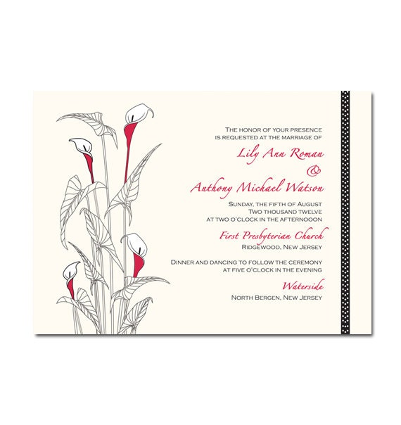 items similar to calla lily wedding invitation or bridal With free printable calla lily wedding invitations