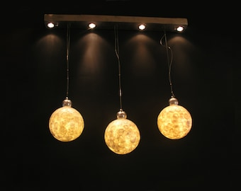 Triple Moon, Handmade  Ceiling Light made of Mother of Pearls.