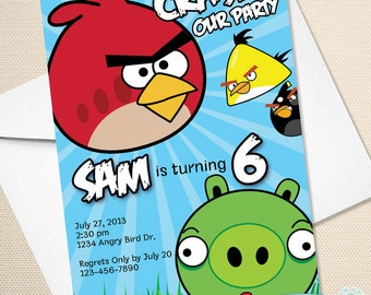Custom Angry Birds Birthday Invitation - Digital File