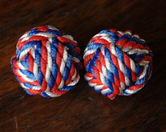 Monkey's Fist Knots - Nautical Decor - Nautical - Patriotic Knots - (this is for 2 knots)