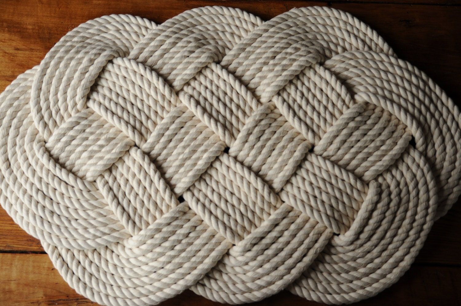 Nautical bath mat nautical decor cotton rope rug for Rope bath mat