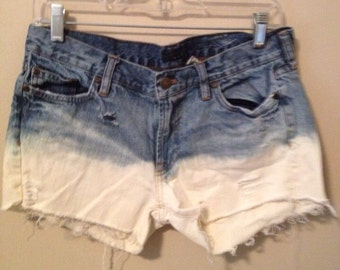 Ombre Bleached Jean Shorts
