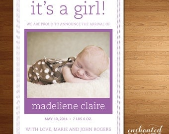 Tiny Dots Collection - Printable Baby Announcement
