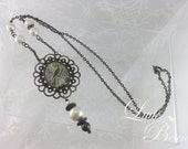 Brass and Green Bird Motif Necklace - Vintage Inspired Antiqued Brass-toned Findings & Chain with Glass Pearl Accents