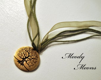 Tree of Life Pendant Necklace, Wicca, Pagan, Element of Earth, Protection Charm, Interfaith