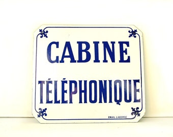 Original French vintage ENAMEL sign. Public telephone sign. Shabby chic. Loft. Industrial. Exclellent condition