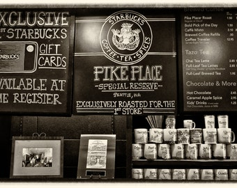 5x7 photograph The first Starbucks INSIDE Pikes Place Seattle.  Vintage look.