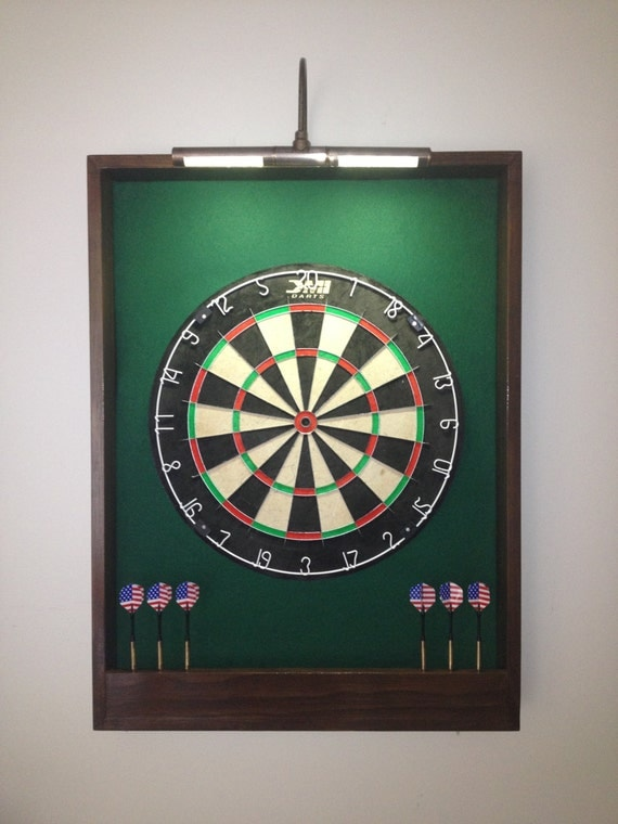 Lighted Hunter Green W Dark Brown Trim Dart Board By