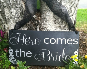 Ringbearer/Flowergirl Sign -- Wedding Signage  - Here Comes the Bride Sign - Wedding Signs --  Custom Wood Wedding Signs  -- Photo Prop