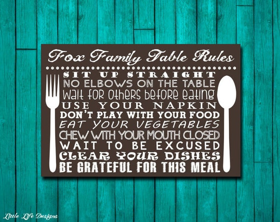 Table manners sign family table rules sign dinner rules for Dining room etiquette