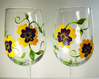 Pansies,Set of 2 Hand Painted Floral Wine Glasses - Purple and Yellow