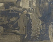 Original 1910's Grandpa and His Steam Engine Threshing Machine Photograph