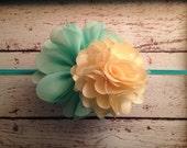 Spring Mint Ballerina Flower with Pale Yellow Satin Mesh Puff on Mint Skinny Headband... Newborn, Baby, Girls Photo Prop Bow