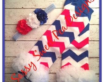 4th of July Red, White and Blue Chevron with Chiffon Ruffle Legwarmers and  Matching Headband... Newborn, Baby Photo Prop