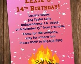 bonfire party invitation outdoor campfire birthday party invite diy printable customized personalized digital file - Bonfire Party Invitations