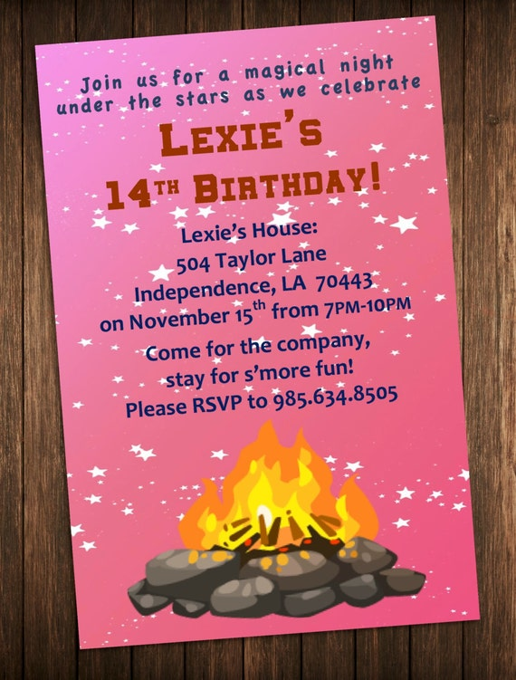 bonfire party invitation outdoor campfire birthday party, Party invitations