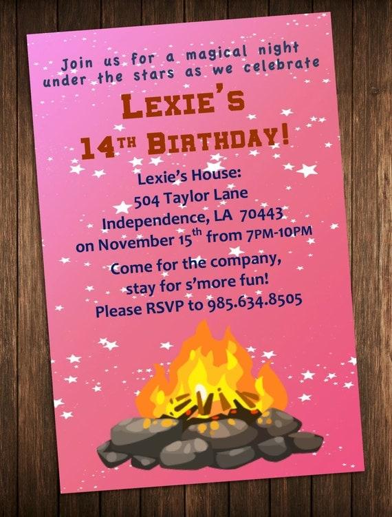 bonfire party invitation outdoor campfire birthday party invite