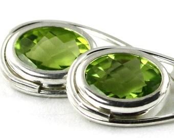 Peridot, 925 Sterling Silver Leverback Earrings, SE008