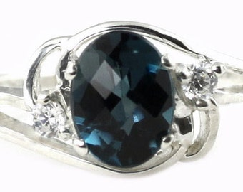 London Blue Topaz, 925 Sterling Silver Ring, SR176