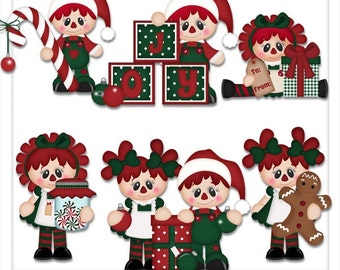 DIGITAL SCRAPBOOKING CLIPART - A Raggedy Christmas
