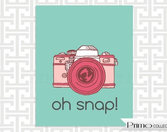 Retro Camera poster /  8x10 inch print / pink and turquoise / Oh snap / tween room decor