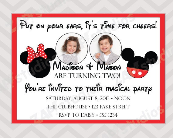 Mickey And Minnie Mouse Invitations For Twins for luxury invitation template