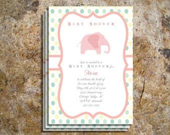 Babyshower Invitations, Baby pink girl polka dots elephant  invitations
