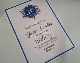 wedding invitations, Blue monogram unique invitations