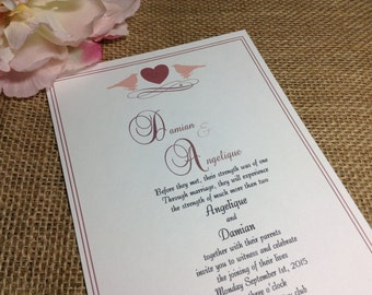 Wedding Invitations -Invitation invites invite -Love birds weddings
