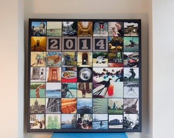 Instagram Collage Canvas Print - 20x20 Inches 49 Photos - Premium Hand Made in UK