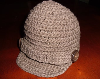 Crochet Newsboy Hat Beanie with Strap and Buttons