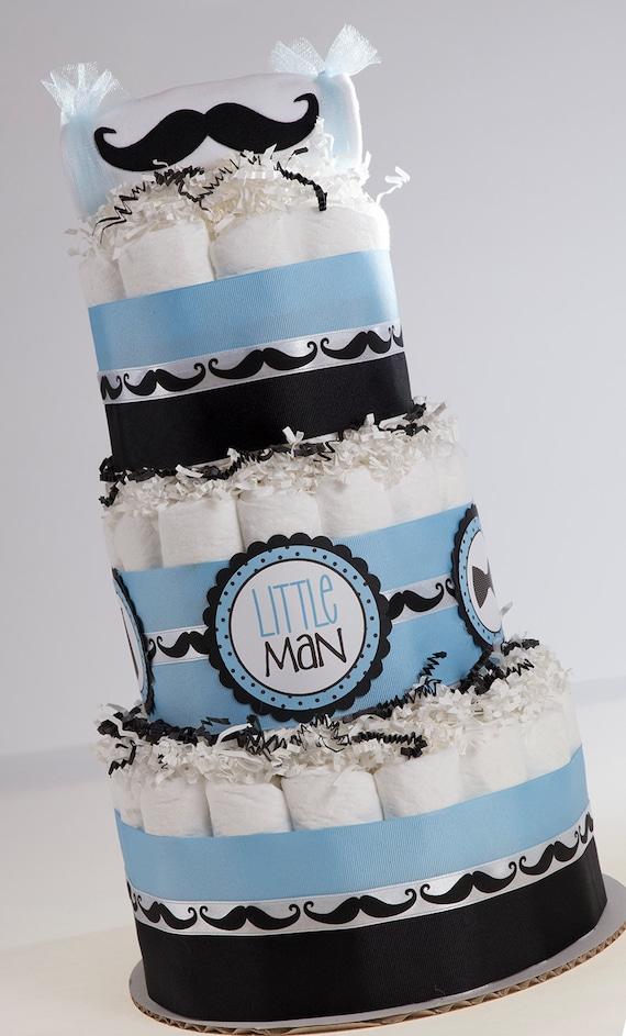 Diaper Cake - Baby Gift - Baby Shower Gift - Mustache Baby Shower - Little Man Baby Shower - Baby Boy Diaper Cake - Mustache Diaper Cake