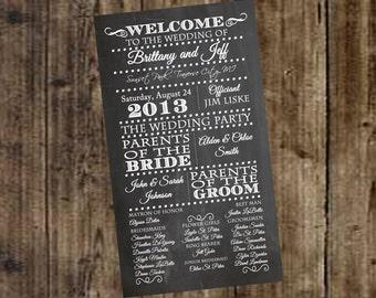 Chalkboard Wedding Program - Print it Yourself, Ceremony, Bride, Groom