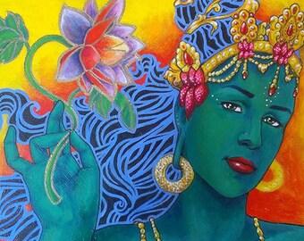 Painting of the Buddhist Green Tara Bodhisattva on canvas