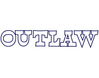 Outlaw Machine Applique Embroidery Fonts  1751