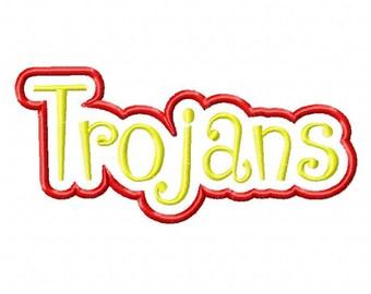 Trojans Text  Frame Applique Designs N047